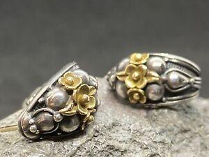 Gerochristo Medieval Byzantine Handmade Half Hoop Earrings 18k 750 925 gold