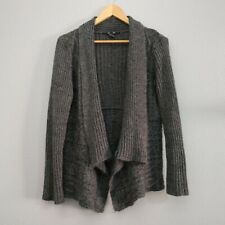89th and Madison Women's Plus 1X Gray Open Front Cable Knit sweater Cardigan