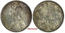 India-British Victoria Silver 1891 B Rupee Bombay Toned aUNC KM# 492 (17 563)