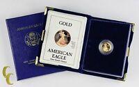 1990-P Proof Gold American Eagle 1/10 Oz. w/ Box, Case, and CoA Bullion Coin