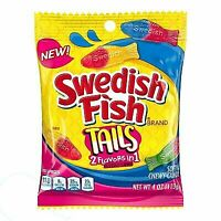SWEDISH FISH  3 X 4 oz Bags TAILS Soft+Chewy Candy 2 FLAVORS IN 1 Fat Free