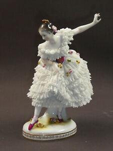 Porzellanfigur Statue/Ballerina Capodimonte Tänzerin mit Spitzenrock - 19cm
