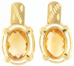 Gorgeous Topaz Earrings 18k Yellow Gold 1 Inch