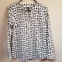 Talbots Women's Top Long Sleeve Popover Blouse Split Neck Key Print  Small