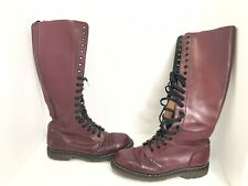 Vintage Dr Doc Martens Tall Red Boots 20-Eye Lace Up Air Wair Goth Punk Size 5