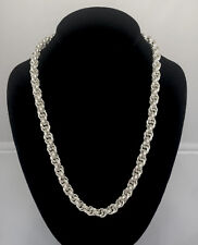 Chainmaille Sterling Silver Double Spiral Rope Necklace. 22 Inches.