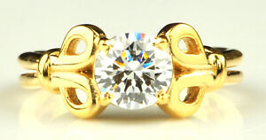 1.50Ct D-Color Round Shape Solitaire Anniversary Ring In 14KT Finest Yellow Gold