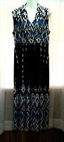 WOMEN'S CHICO'S BLACK WHITE BLUE PRINT SLEEVELESS V-NECK STRETCHY MAXI DRESS 2