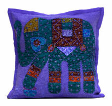 Vintage Applique Ethnic Patchwork Traditional Elephant Purple Cushion Cover