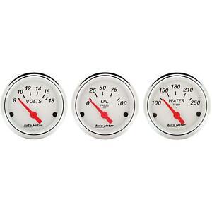 AutoMeter Artic White Air-Core 2-1/16 Inch 3-Gauge Set