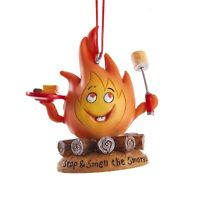 Stop and Smell the Smores Camp Fire Christmas Holiday Ornament Resin