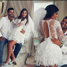 Lace White/Ivory Wedding Dress Bridal Ball Gown Custom Size 2-4-6-8-10-12-14-16+