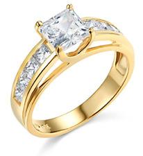3 Ct Princess Brilliant Cut Engagement Wedding Ring Trellis Real 14K Yellow Gold