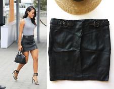 Topshop black faux leather Mini Skirt 12 vegan pleather biker