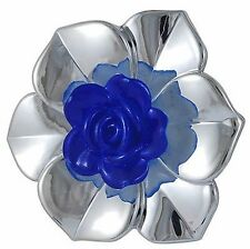 3 x Blue & Silver UV Electroplated Flower Acrylic Beads 2 Hole 57mm ~ lady-muck1