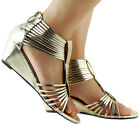 New Ladies Gold Strappy Gladiator Wedge Sandals Au Size 4/5/6/7/8/8.5/9