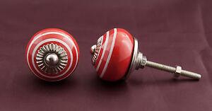 6 Button S Of Furniture Handle Red Porcelain Drawer Ø 3.7 Cm- GD3 1478