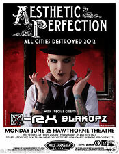 AESTHETIC PERFECTION 2012 PORTLAND CONCERT TOUR POSTER -Electro Industrial