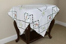 """Elegantlinen Beautiful Embroidered Green Embroidery Flower Tablecloth 36"""" Square"""