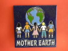 """Ceramic Art Tile 6""""x6"""" Mother Earth children diversity EARTH DAY handpainted J20"""