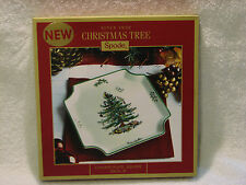 """SPODE CHRISTMAS TREE 8"""" SQUARE CANAPE / APPETIZER PLATE (MSRP=$40.) NIB"""