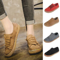 Women Ladies Soft Flat Ankle Single Shoes Female Suede Leather Lace-Up Boots
