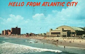 Vintage Postcard Hello from Atlantic City Convention Hall & Hotels World  Beach