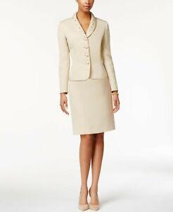 NWT Tahari ASL Bead-Trim Textured Skirt Suit, Size 10P