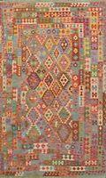 Geometric Kilim Oriental Area Rug Reversible Hand-woven Living Room Carpet 7x10