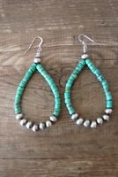Navajo Indian Hand Beaded Turquoise and Desert Pearl Earrings by Jake