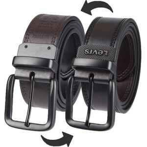 "Levis Leather Belt Men's 1.5"" Reversible Leather Belt With Logo, Black/Brown"