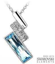 Made with Swarovski Elements Aqua Blue & Clear Rectangular Pendant and Necklace