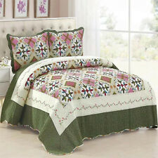 Floral Patchwork Coverlet Quilted Bedspreads Set Queen King Size Blanket NEW