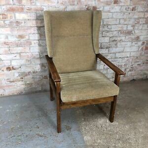 Vintage Beige Fireside Wingback Armchair with Wooden Frame