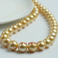"""AAAAA 17""""12-13MM NATURAL real round south sea golden pearl necklace 14K gold"""