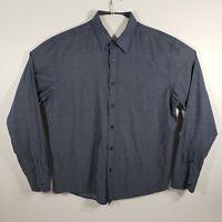 UNTUCKit Mens Large Shirt Button Up Long Sleeve Soft 100% Cotton Blue