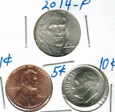 2014 Three Philadelphia Brilliant Uncirculated Business Strike 1C, 5C, 10C Coins
