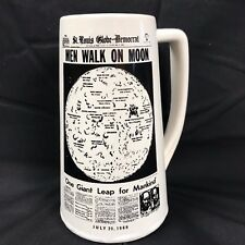 MEN WALK on MOON Beer Stein Mug Ceramic St Louis Globe Democrat Headlines VTG