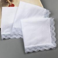 10x Men Women 100% Cotton White Handkerchiefs Comfy Hanky Hankies Kerchief