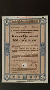 4 % Kommunal-SV Sächsische Bodenkreditanstalt 500 RM Aug. 1941 Dresden