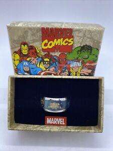 Size 12 - Marvel Captain America Stainless Steel & Enamel Ring - NOS 2011 s6