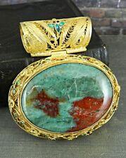 Gold Plate Over Sterling Silver Filigree & Enamel Bloodstone Pendant
