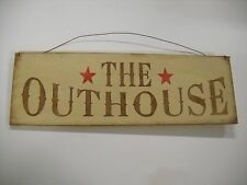 The Outhouse Country Bathroom Hand Stenciled Wooden Wall Art Sign Bath Decor