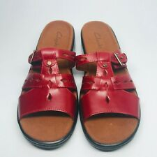 Clarkes Red Slip On Sandal Slides Shoes Size 8