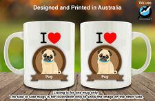 I Love Pug Dog Lover Coffee Personalised Custom Mug Cute Lovely Birthday Gift