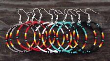"""5 Pair Native American Style 1 1/2"""" Long Beaded Hoop Earrings"""