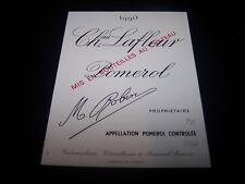 etiquette vin Chateau LAFLEUR 1990 original Pomerol wine label bordeaux robin