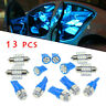 13pcs Car 12V Interior LED Blue Lights For Dome License Plate Lamps Accessories