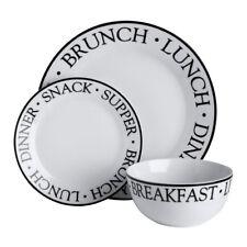 12pc Dinner Set Lunch Brunch Noir Plates Bowls Porcelain Service Dining Set