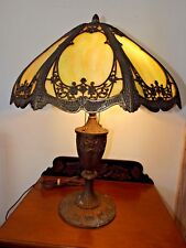 Antique Miller Lamp Co. Art Nouveau w/Green Slag Stained Glass Shade Table Lamp